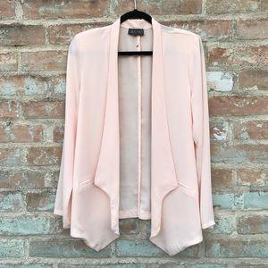 ASTR Pink Blazer Sheer Blush Draped Jacket Coverup